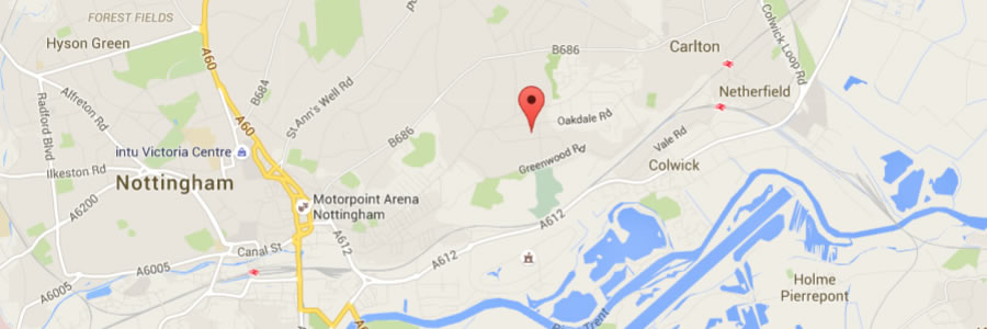 map of the location of sa commercial services nottingham